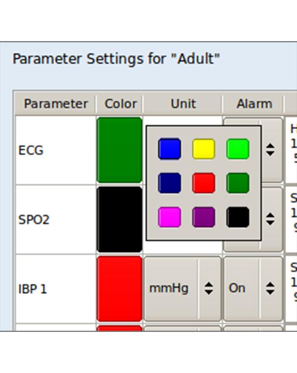核磁监护仪-参数波形颜色